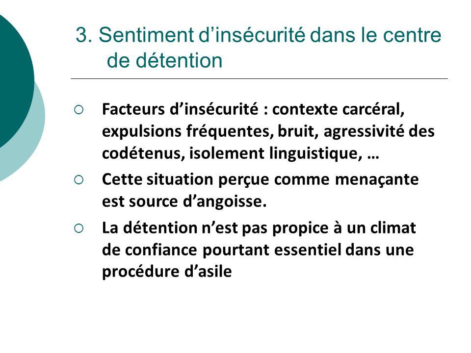3. Sentiment dinsécurité dans le centre de détention Facteurs dinsécurité : contexte carcéral, expulsions fréquentes, bruit, agressivité des codétenus