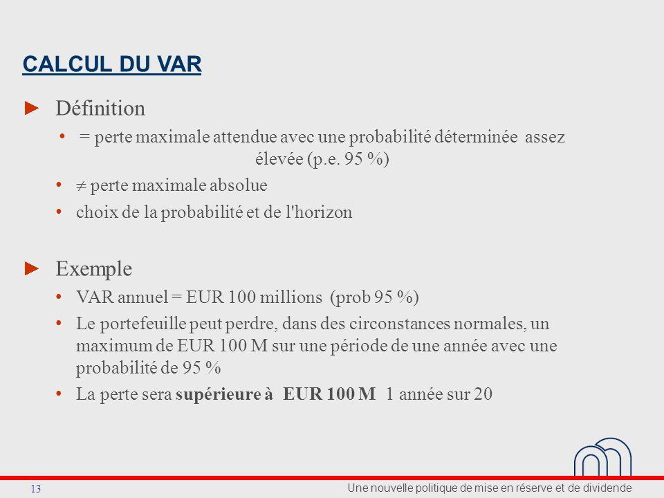 Une nouvelle politique de mise en réserve et de dividende 13 CALCUL DU VAR Définition = perte maximale attendue avec une probabilité déterminée assez élevée (p.e.
