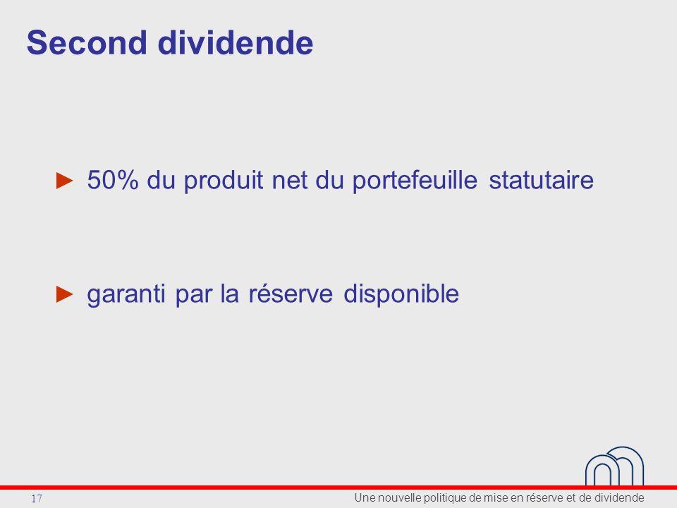 Une nouvelle politique de mise en réserve et de dividende 17 Second dividende 50% du produit net du portefeuille statutaire garanti par la réserve disponible