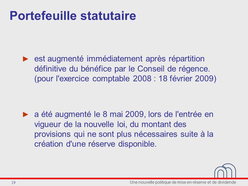 Une nouvelle politique de mise en réserve et de dividende 19 Portefeuille statutaire est augmenté immédiatement après répartition définitive du bénéfice par le Conseil de régence.
