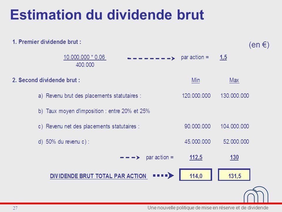 Une nouvelle politique de mise en réserve et de dividende 27 Estimation du dividende brut (en )