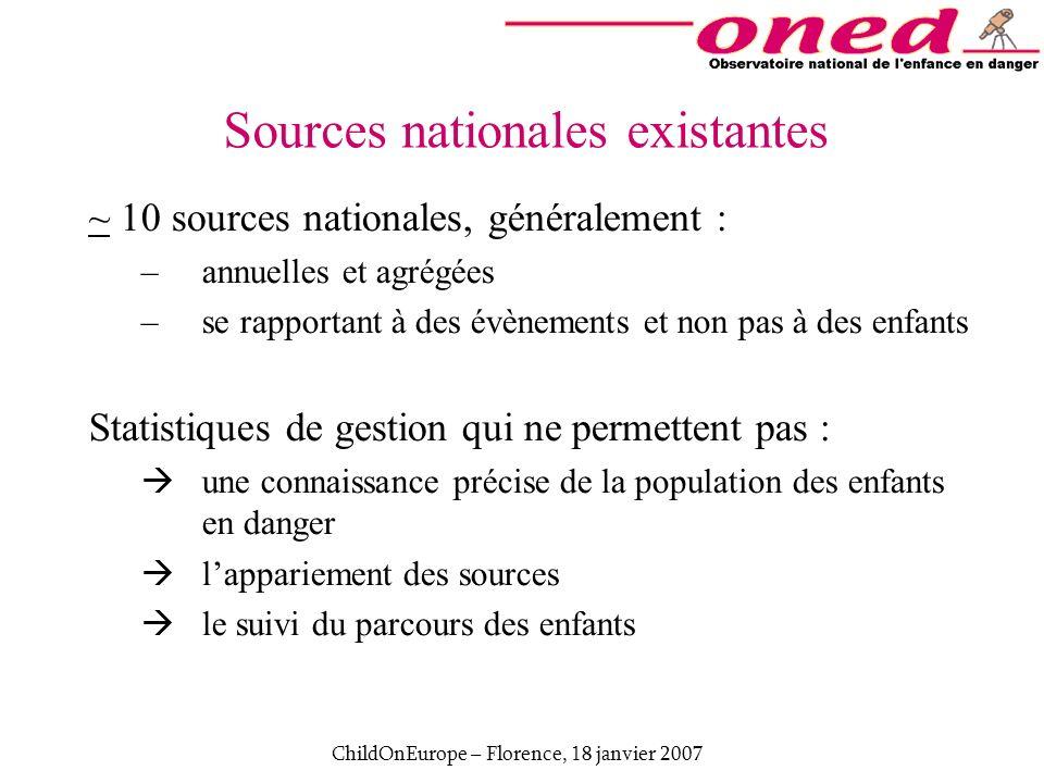 ChildOnEurope – Florence, 18 janvier 2007 Sources nationales existantes ~ 10 sources nationales, généralement : –annuelles et agrégées –se rapportant