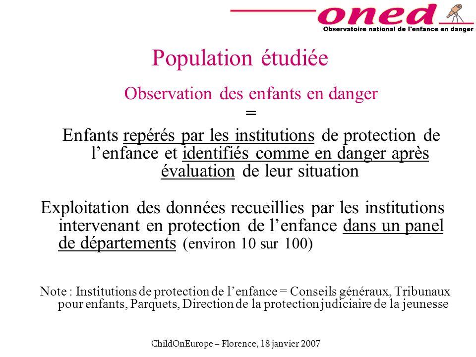 ChildOnEurope – Florence, 18 janvier 2007 Population étudiée Observation des enfants en danger = Enfants repérés par les institutions de protection de