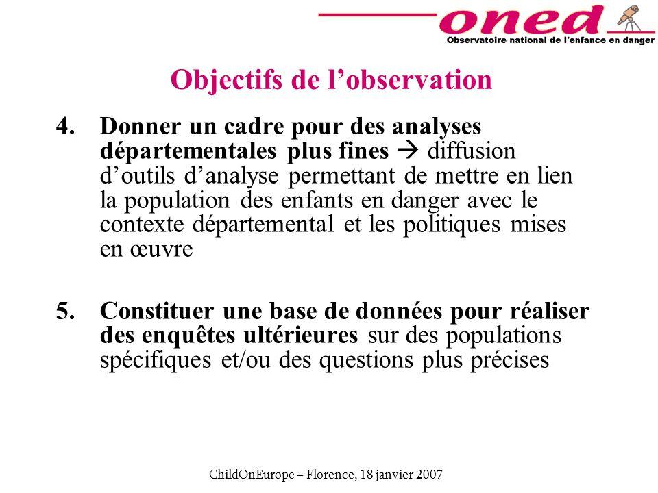 ChildOnEurope – Florence, 18 janvier 2007 Objectifs de lobservation 4.Donner un cadre pour des analyses départementales plus fines diffusion doutils d