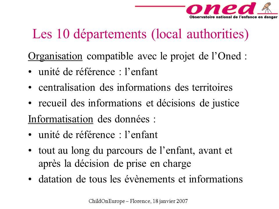 ChildOnEurope – Florence, 18 janvier 2007 Organisation compatible avec le projet de lOned : unité de référence : lenfant centralisation des informatio