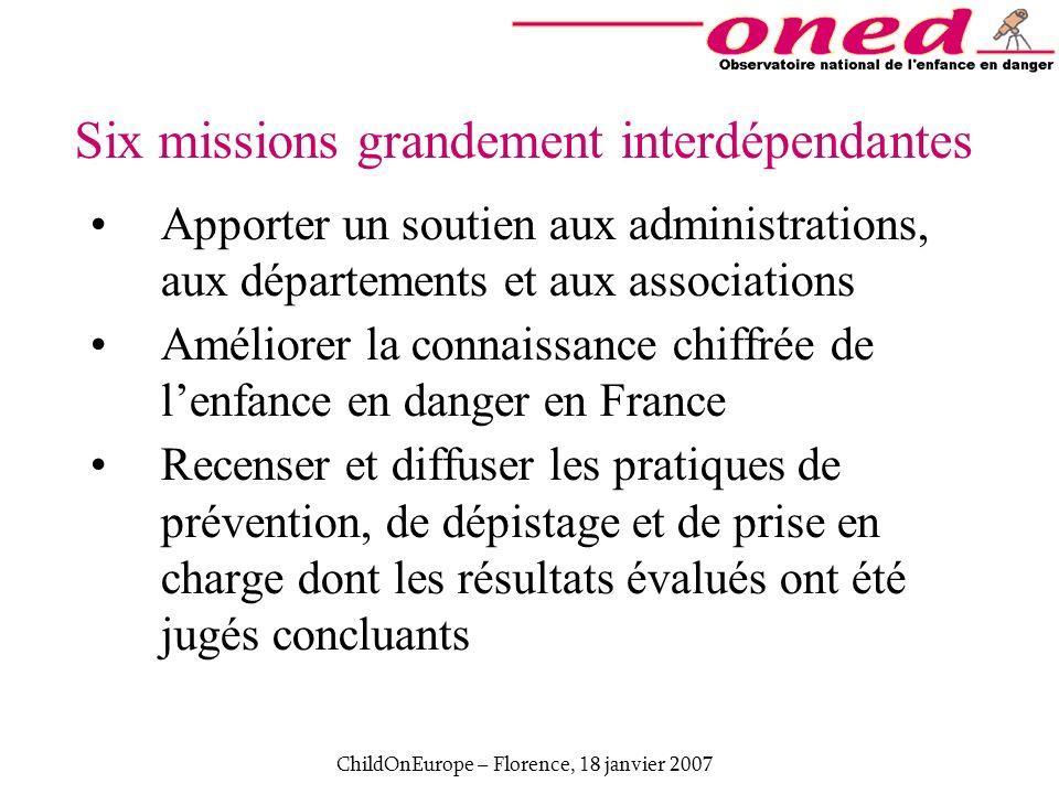 ChildOnEurope – Florence, 18 janvier 2007 Six missions grandement interdépendantes Apporter un soutien aux administrations, aux départements et aux as