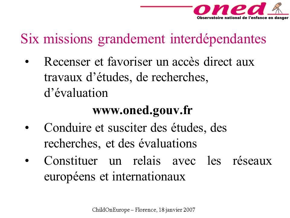 ChildOnEurope – Florence, 18 janvier 2007 Six missions grandement interdépendantes Recenser et favoriser un accès direct aux travaux détudes, de reche