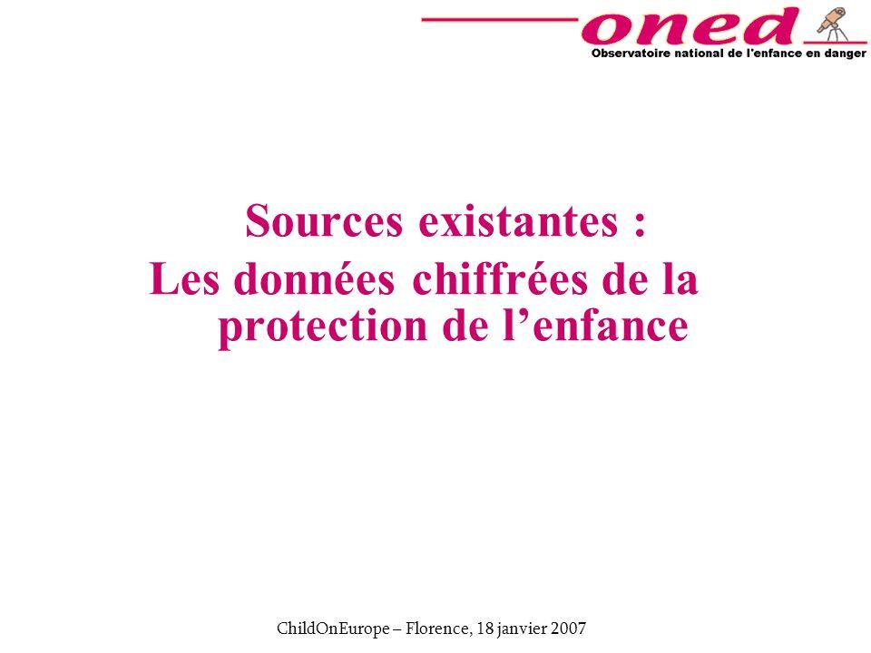 ChildOnEurope – Florence, 18 janvier 2007 Sources nationales existantes 5 sources provenant des Ministères : 1.