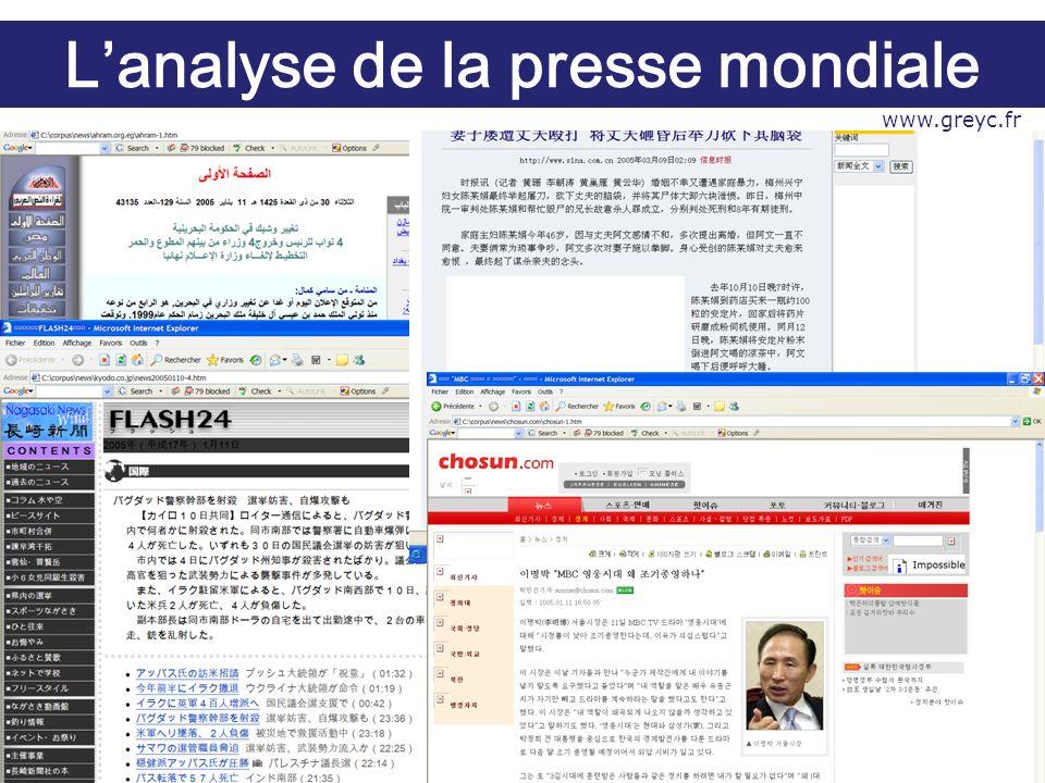 Exemple de thème « Document » Lanalyse de la presse mondiale www.greyc.fr