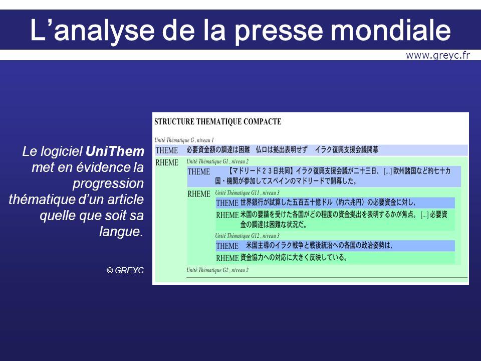 Le logiciel UniThem met en évidence la progression thématique dun article quelle que soit sa langue.