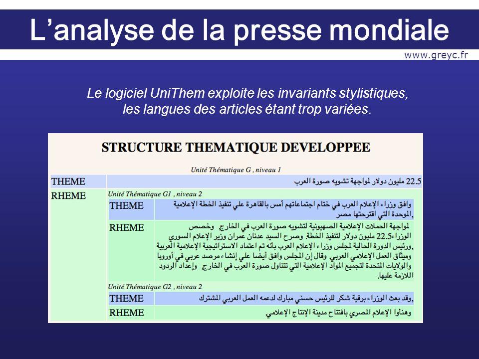 Le logiciel UniThem exploite les invariants stylistiques, les langues des articles étant trop variées.