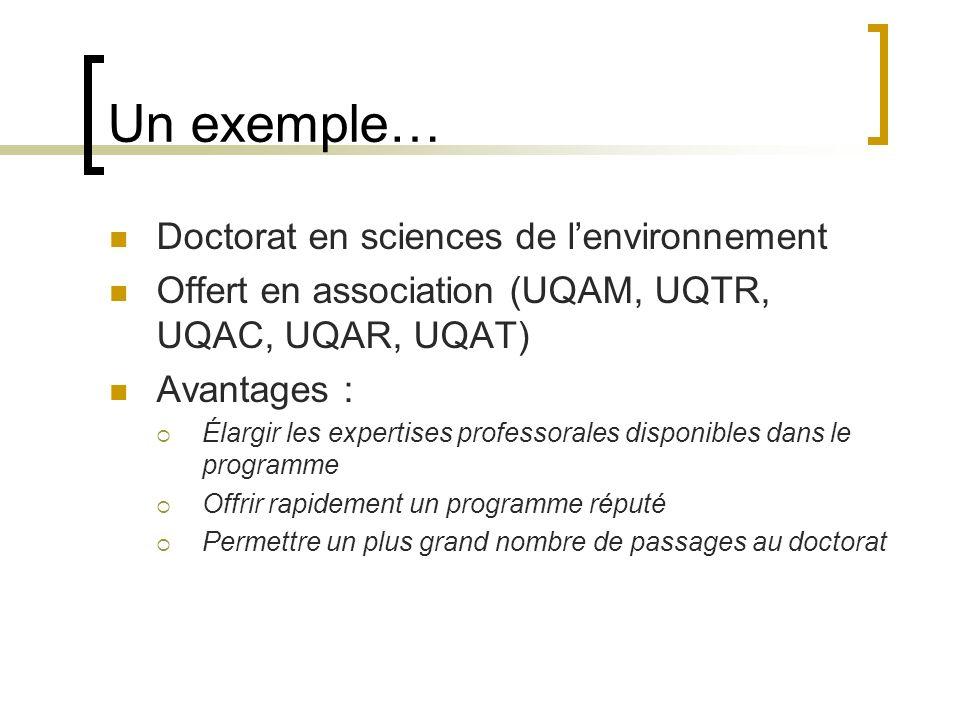 Un exemple… Doctorat en sciences de lenvironnement Offert en association (UQAM, UQTR, UQAC, UQAR, UQAT) Avantages : Élargir les expertises professorales disponibles dans le programme Offrir rapidement un programme réputé Permettre un plus grand nombre de passages au doctorat