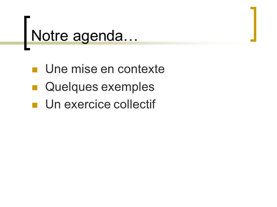 Notre agenda… Une mise en contexte Quelques exemples Un exercice collectif