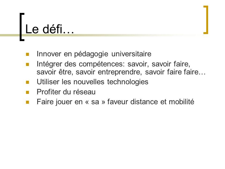 Le défi… Innover en pédagogie universitaire Intégrer des compétences: savoir, savoir faire, savoir être, savoir entreprendre, savoir faire faire… Utiliser les nouvelles technologies Profiter du réseau Faire jouer en « sa » faveur distance et mobilité