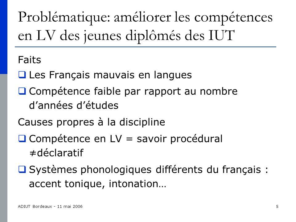 ADIUT Bordeaux - 11 mai 200616 Le Cadre Européen et les certifications Les certifications dans les PPN Disparité et flou Harmonisation nécessaire Difficultés certification la mieux adaptée aux DUT.