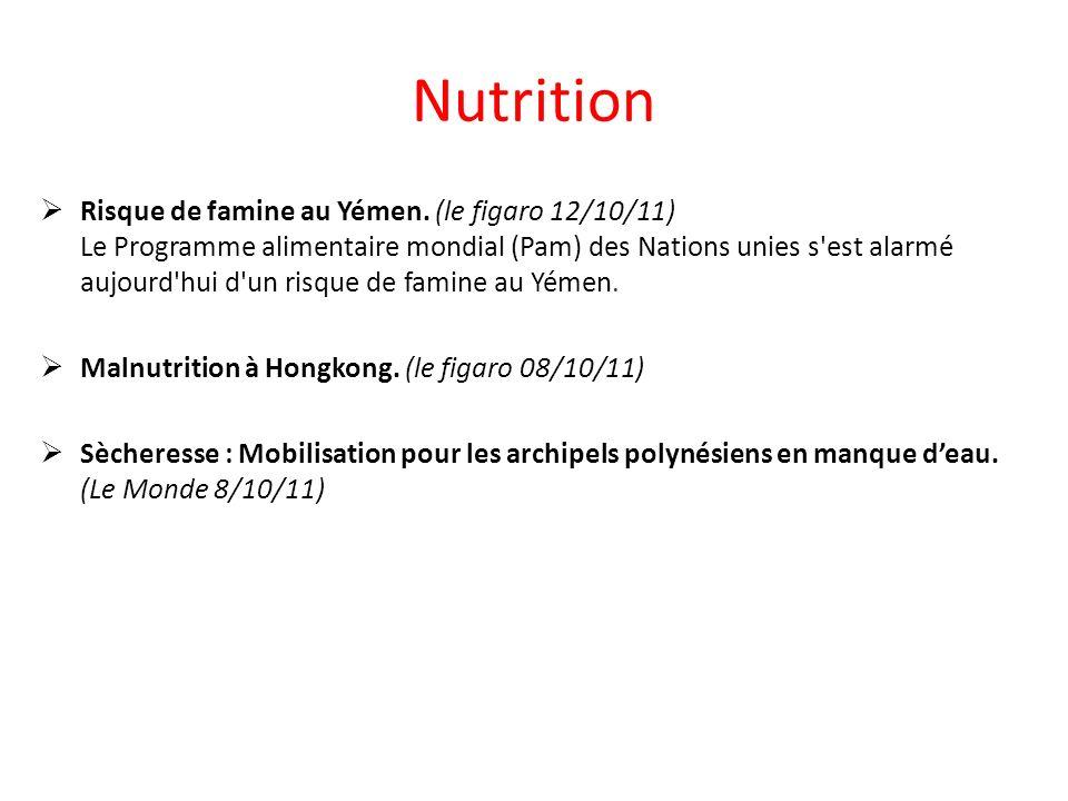 Nutrition Risque de famine au Yémen.