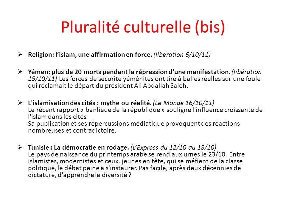 Pluralité culturelle (bis) Religion: lislam, une affirmation en force.