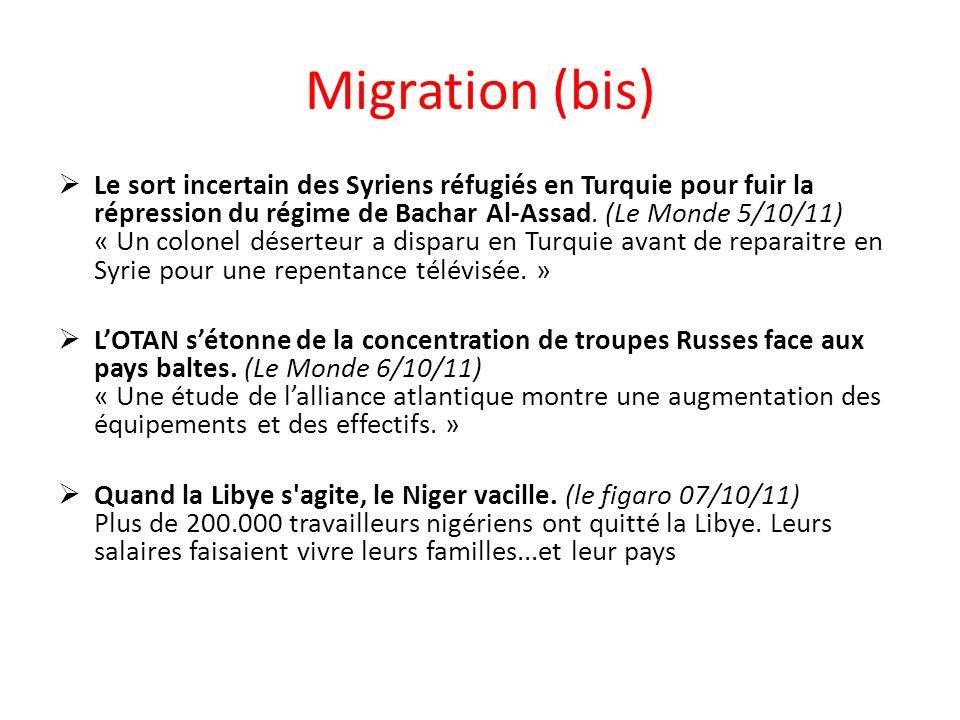 Migration (bis) Le sort incertain des Syriens réfugiés en Turquie pour fuir la répression du régime de Bachar Al-Assad.