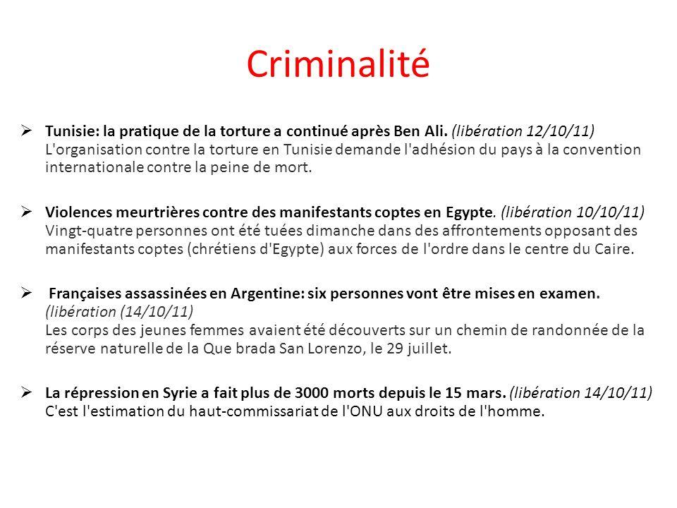 Criminalité Tunisie: la pratique de la torture a continué après Ben Ali.