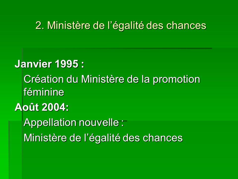 2. Ministère de légalité des chances Janvier 1995 : Création du Ministère de la promotion féminine Août 2004: Appellation nouvelle : Ministère de léga