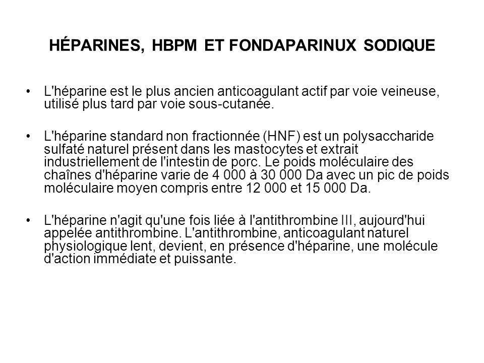 HÉPARINES, HBPM ET FONDAPARINUX SODIQUE L'héparine est le plus ancien anticoagulant actif par voie veineuse, utilisé plus tard par voie sous-cutanée.