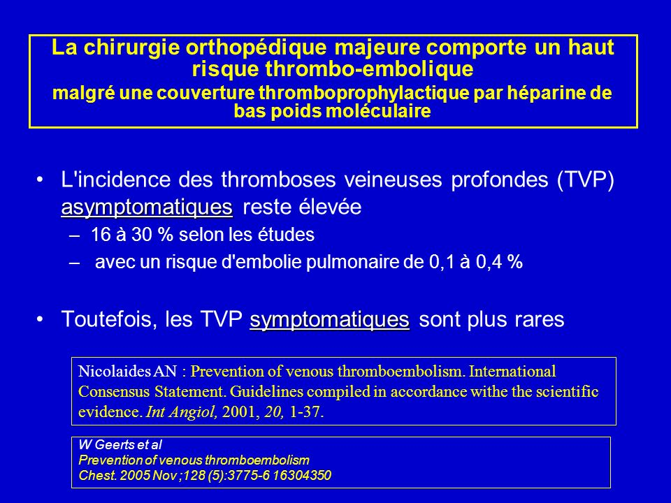 asymptomatiquesL'incidence des thromboses veineuses profondes (TVP) asymptomatiques reste élevée –16 à 30 % selon les études – avec un risque d'emboli