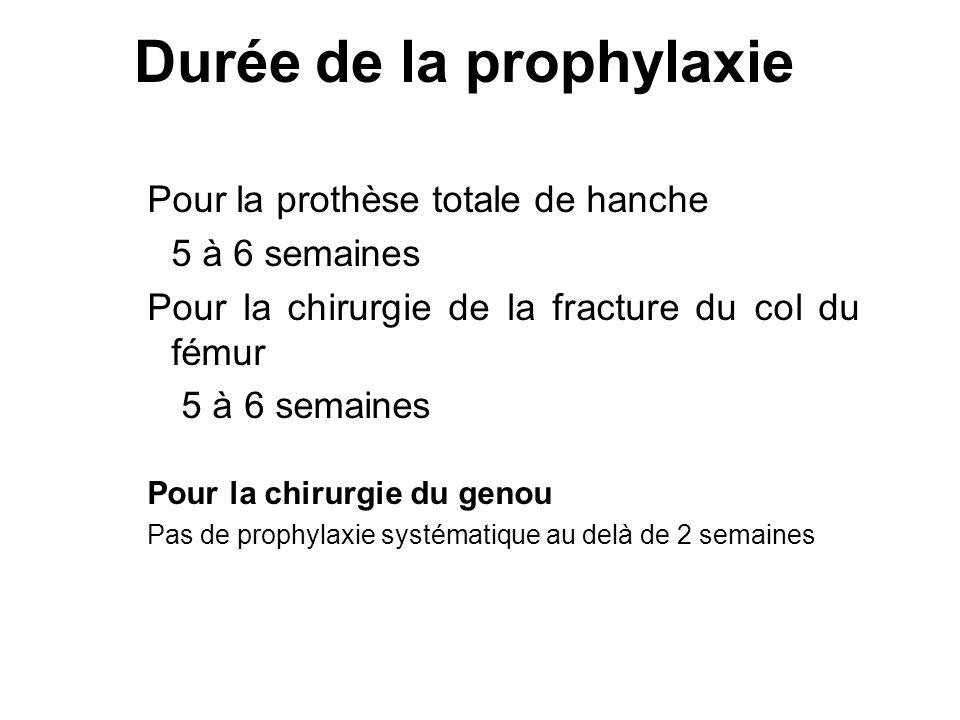 Durée de la prophylaxie Pour la prothèse totale de hanche 5 à 6 semaines Pour la chirurgie de la fracture du col du fémur 5 à 6 semaines Pour la chiru