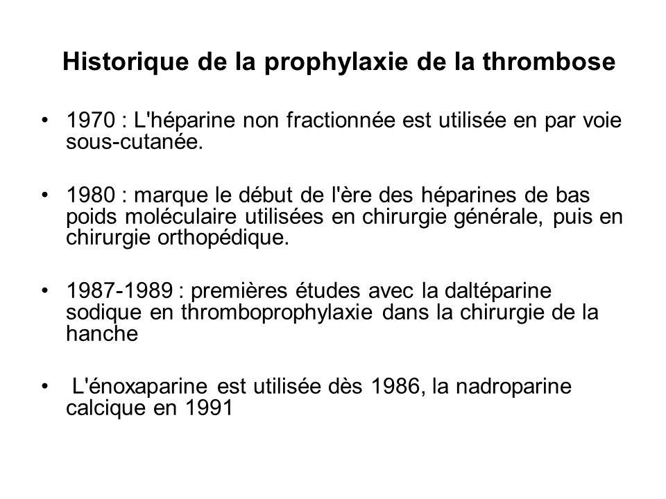 Durée de la prophylaxie Pour la prothèse totale de hanche 5 à 6 semaines Pour la chirurgie de la fracture du col du fémur 5 à 6 semaines Pour la chirurgie du genou Pas de prophylaxie systématique au delà de 2 semaines