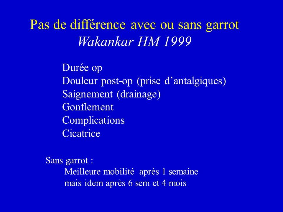 Sans garrot : Meilleure mobilité après 1 semaine mais idem après 6 sem et 4 mois Pas de différence avec ou sans garrot Wakankar HM 1999 Durée op Doule