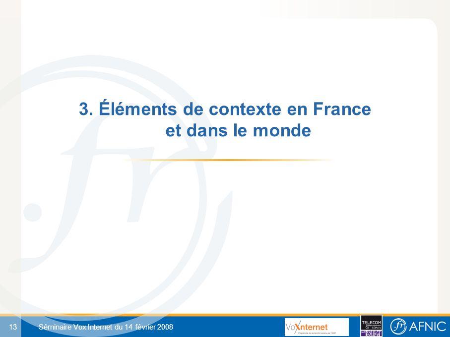 13 Séminaire Vox Internet du 14 février 2008 3. Éléments de contexte en France et dans le monde