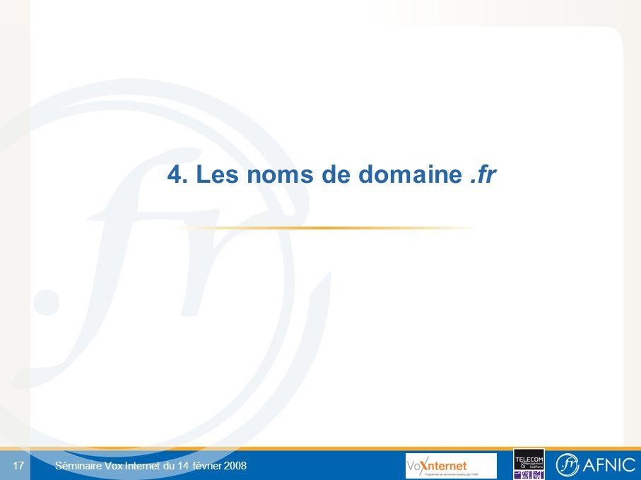 17 Séminaire Vox Internet du 14 février 2008 4. Les noms de domaine.fr