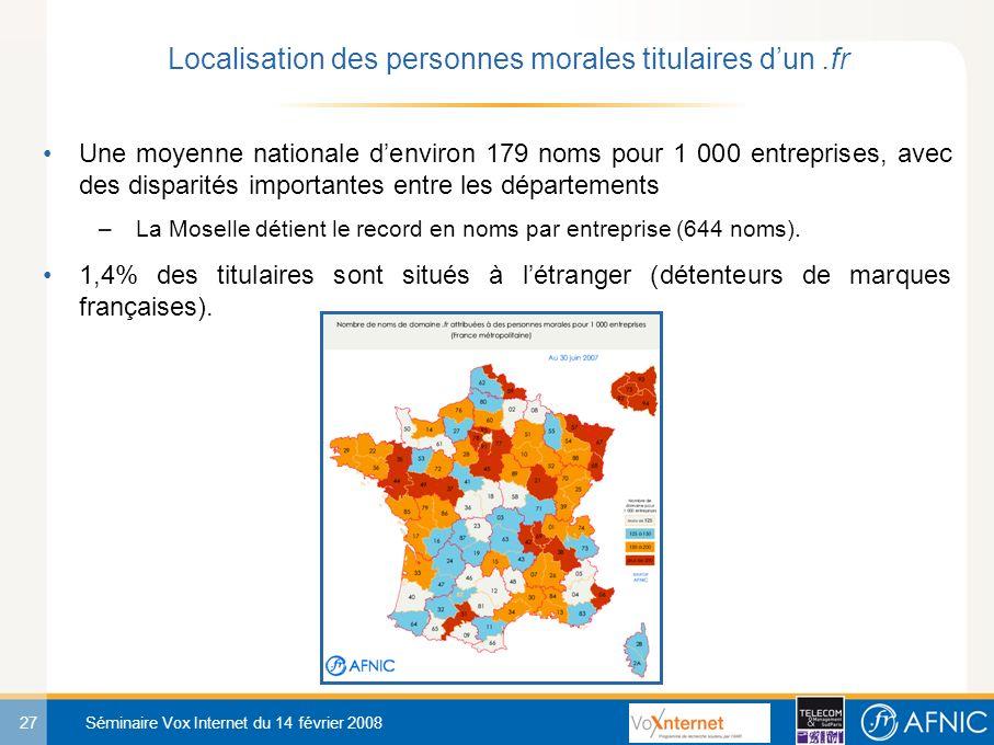 27 Séminaire Vox Internet du 14 février 2008 Une moyenne nationale denviron 179 noms pour 1 000 entreprises, avec des disparités importantes entre les départements –La Moselle détient le record en noms par entreprise (644 noms).