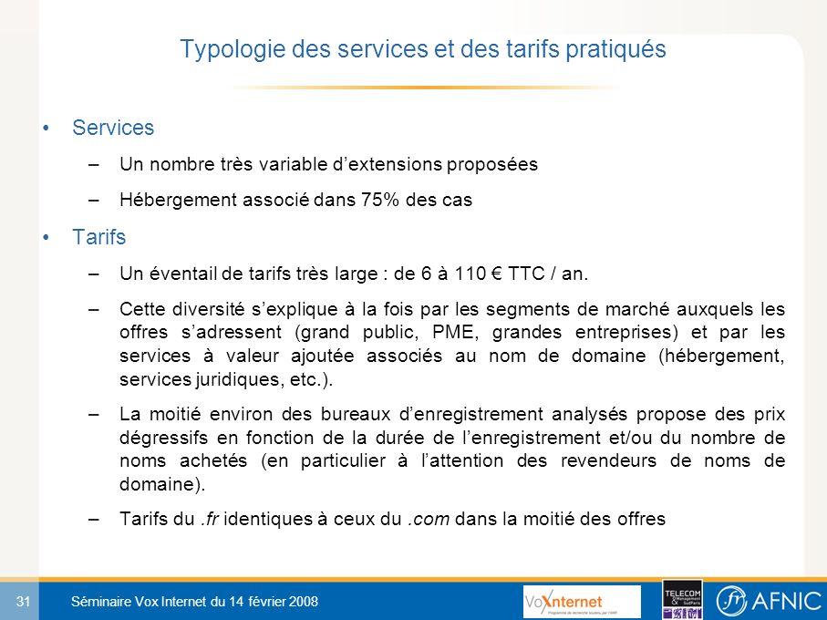31 Séminaire Vox Internet du 14 février 2008 Services –Un nombre très variable dextensions proposées –Hébergement associé dans 75% des cas Tarifs –Un éventail de tarifs très large : de 6 à 110 TTC / an.