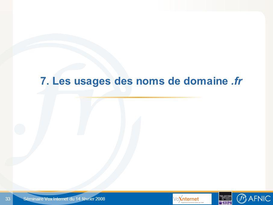 33 Séminaire Vox Internet du 14 février 2008 7. Les usages des noms de domaine.fr