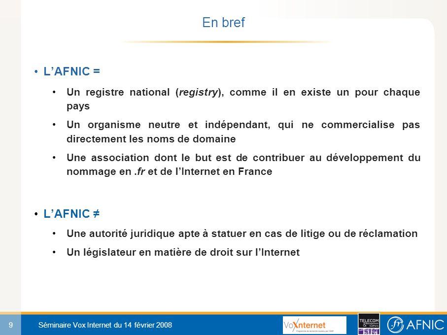 9 Séminaire Vox Internet du 14 février 2008 En bref LAFNIC = Un registre national (registry), comme il en existe un pour chaque pays Un organisme neutre et indépendant, qui ne commercialise pas directement les noms de domaine Une association dont le but est de contribuer au développement du nommage en.fr et de lInternet en France LAFNIC Une autorité juridique apte à statuer en cas de litige ou de réclamation Un législateur en matière de droit sur lInternet