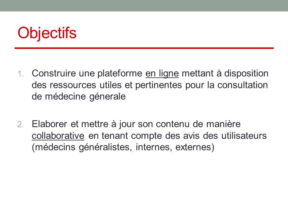 Objectifs 1. Construire une plateforme en ligne mettant à disposition des ressources utiles et pertinentes pour la consultation de médecine génerale 2