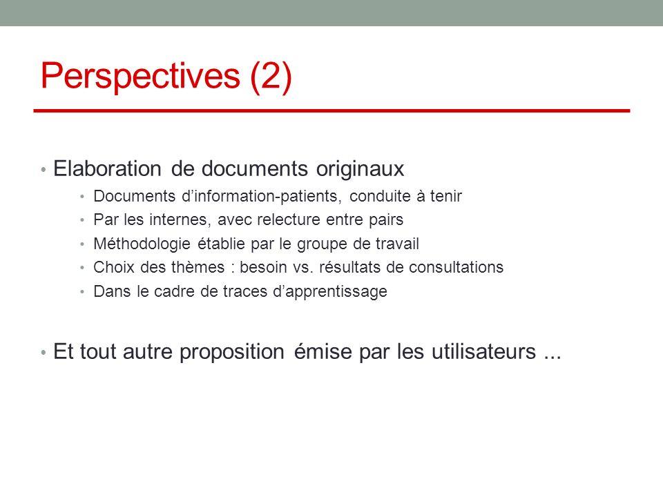 Perspectives (2) Elaboration de documents originaux Documents dinformation-patients, conduite à tenir Par les internes, avec relecture entre pairs Méthodologie établie par le groupe de travail Choix des thèmes : besoin vs.