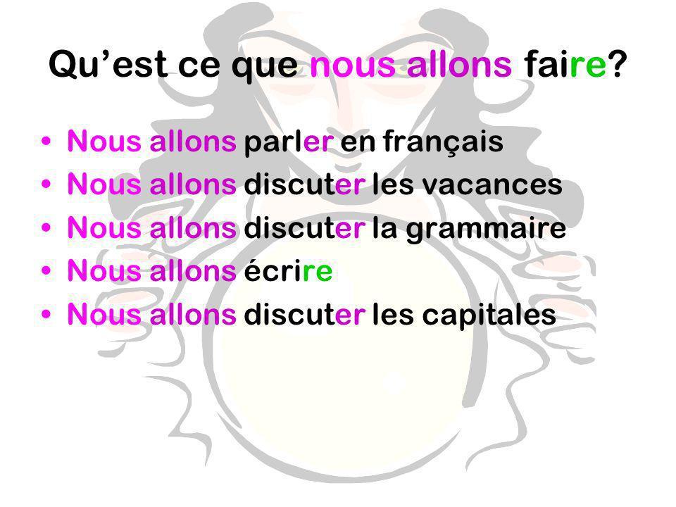 Quest ce que nous allons faire? Nous allons parler en français Nous allons discuter les vacances Nous allons discuter la grammaire Nous allons écrire