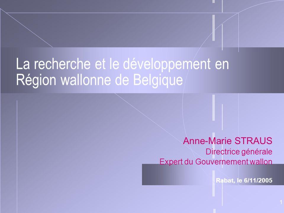 1 La recherche et le développement en Région wallonne de Belgique Anne-Marie STRAUS Directrice générale Expert du Gouvernement wallon Rabat, le 6/11/2