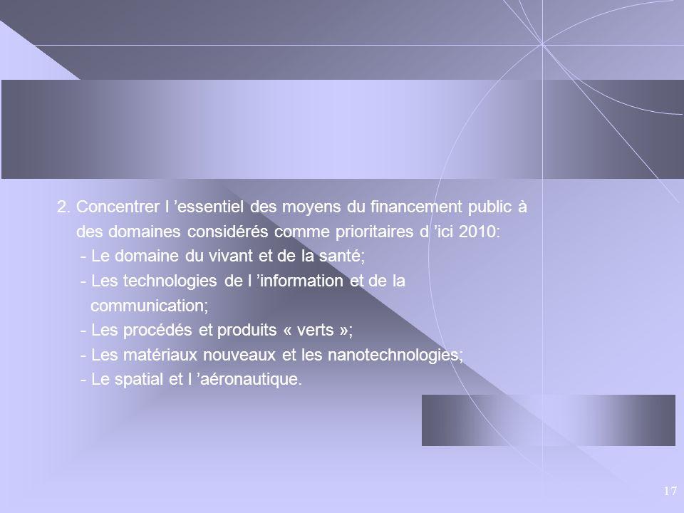17 2. Concentrer l essentiel des moyens du financement public à des domaines considérés comme prioritaires d ici 2010: - Le domaine du vivant et de la