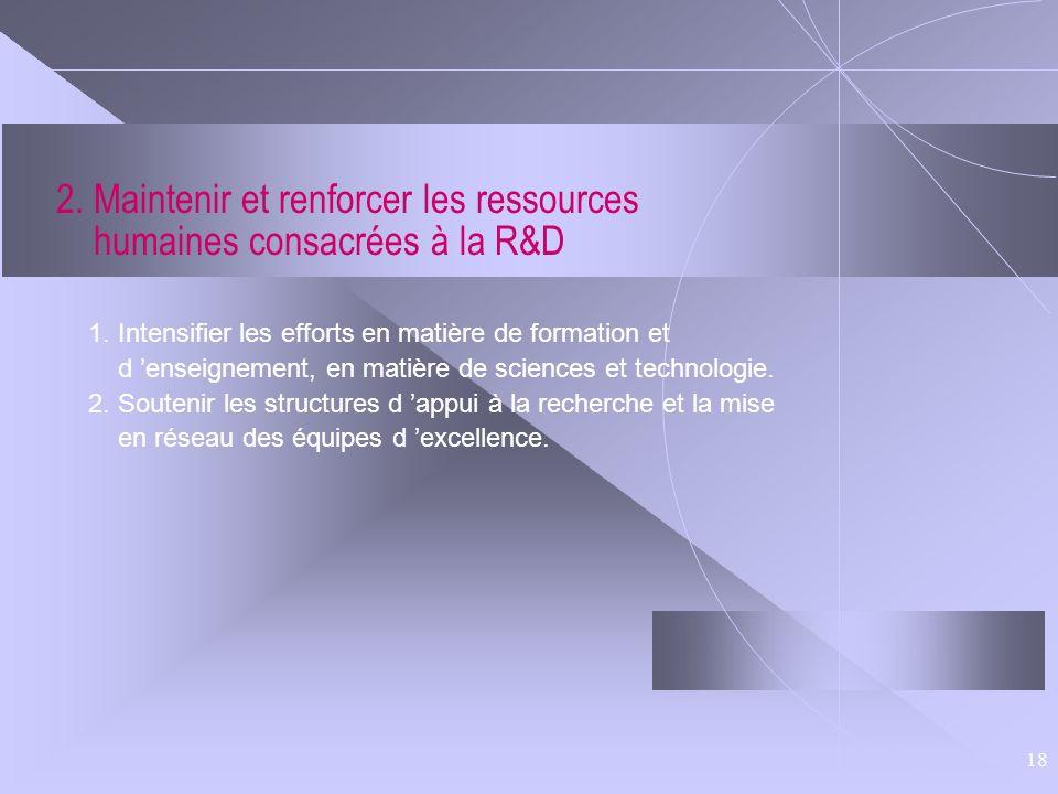 18 2. Maintenir et renforcer les ressources humaines consacrées à la R&D 1. Intensifier les efforts en matière de formation et d enseignement, en mati