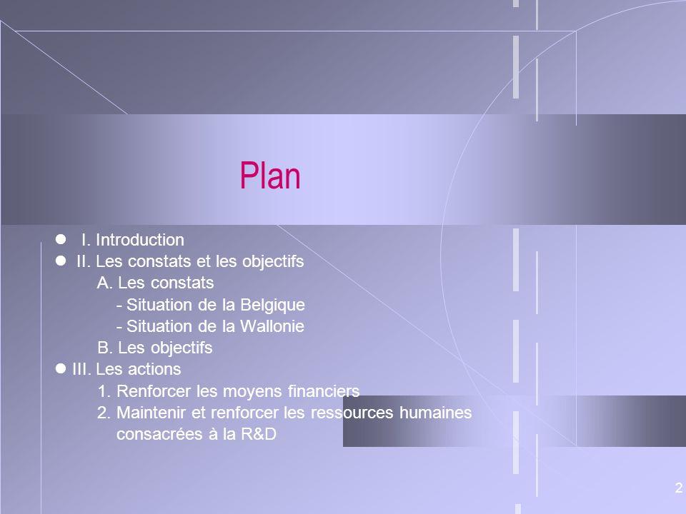 2 Plan I. Introduction II. Les constats et les objectifs A. Les constats - Situation de la Belgique - Situation de la Wallonie B. Les objectifs III. L