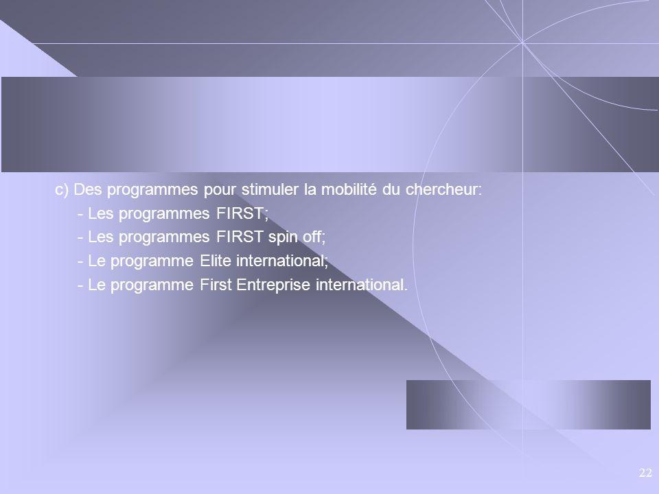 22 c) Des programmes pour stimuler la mobilité du chercheur: - Les programmes FIRST; - Les programmes FIRST spin off; - Le programme Elite internation