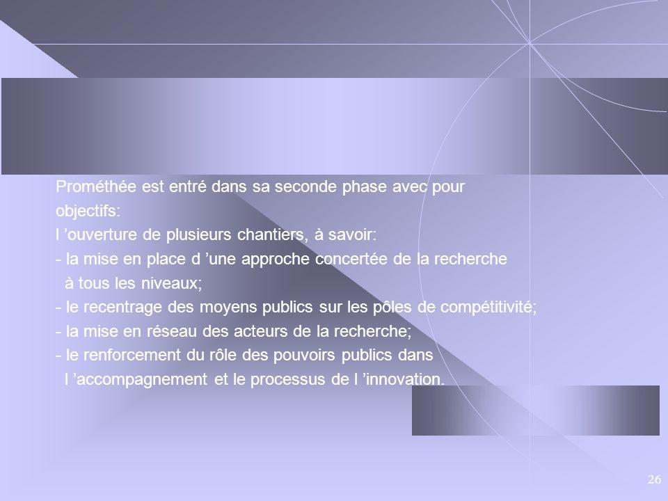 26 Prométhée est entré dans sa seconde phase avec pour objectifs: l ouverture de plusieurs chantiers, à savoir: - la mise en place d une approche conc