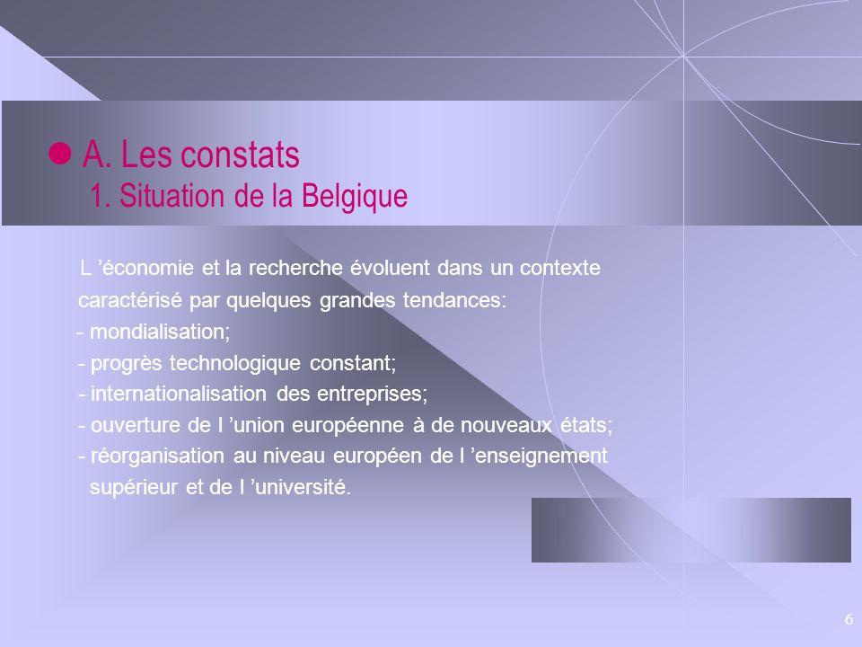6 A. Les constats 1. Situation de la Belgique L économie et la recherche évoluent dans un contexte caractérisé par quelques grandes tendances: - mondi