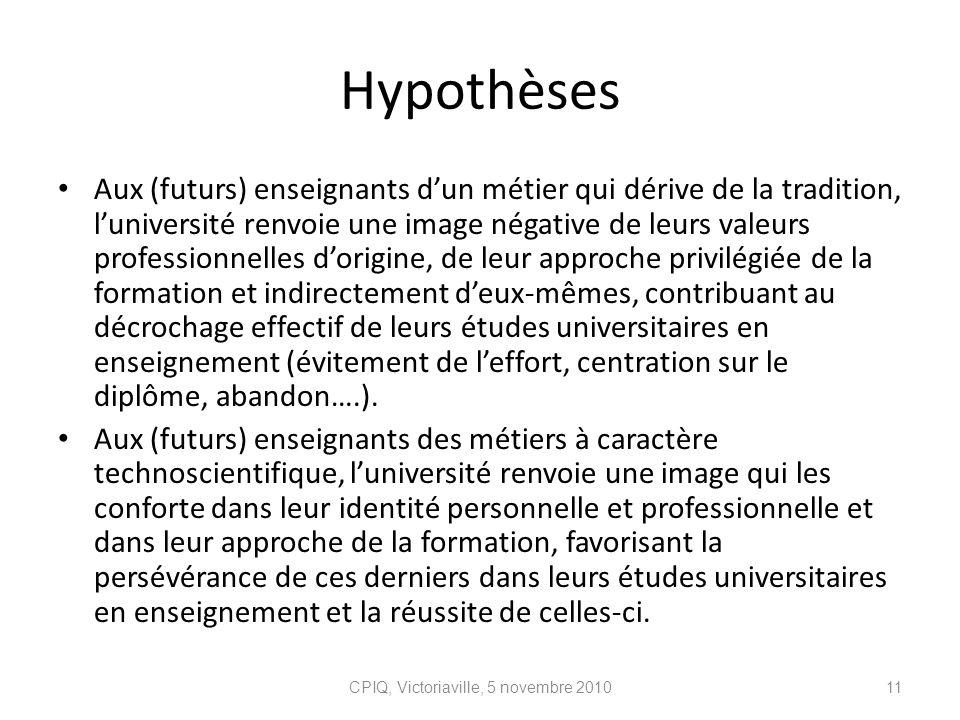 Hypothèses Aux (futurs) enseignants dun métier qui dérive de la tradition, luniversité renvoie une image négative de leurs valeurs professionnelles do