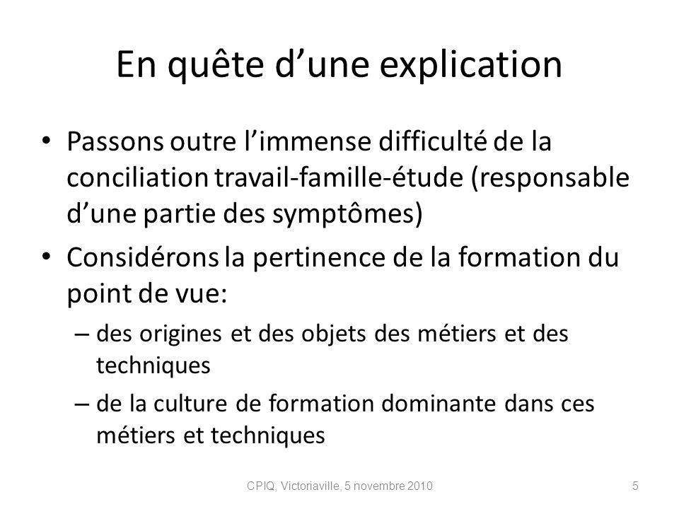 En quête dune explication Passons outre limmense difficulté de la conciliation travail-famille-étude (responsable dune partie des symptômes) Considéro