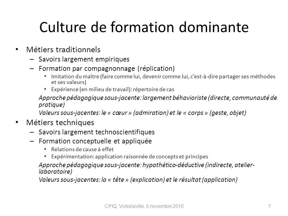 Culture de formation dominante Métiers traditionnels – Savoirs largement empiriques – Formation par compagnonnage (réplication) Imitation du maître (f
