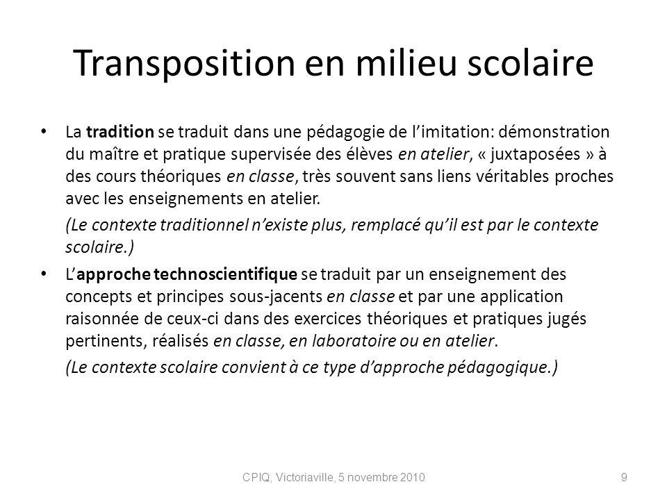 Transposition en milieu scolaire La tradition se traduit dans une pédagogie de limitation: démonstration du maître et pratique supervisée des élèves e