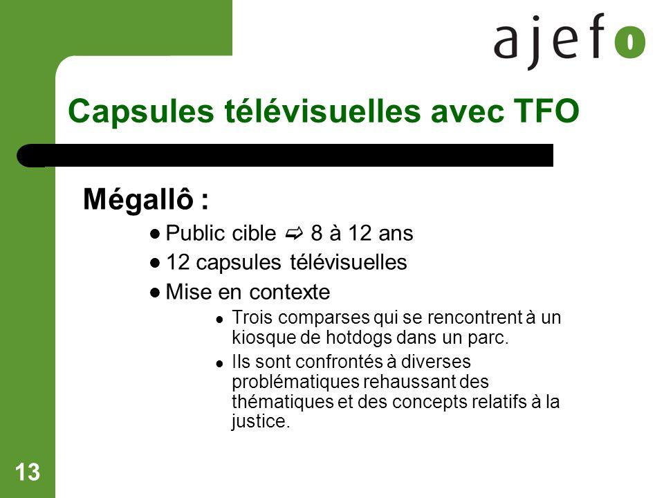 13 Capsules télévisuelles avec TFO Mégallô : Public cible 8 à 12 ans 12 capsules télévisuelles Mise en contexte Trois comparses qui se rencontrent à un kiosque de hotdogs dans un parc.